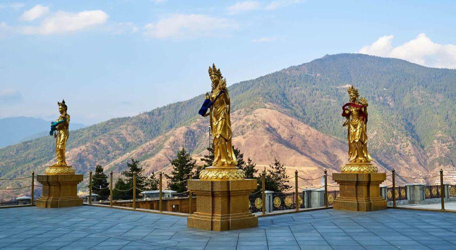 Golden Buddha Statues Bhutan