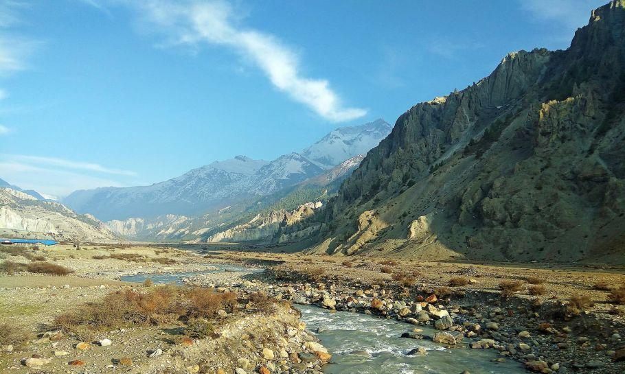 manang mountain lake, nepal