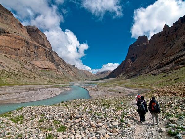 Pilgrims doing the Kora around the holy mountain Mount Kailash in Western Tibet
