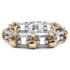 Guld & Silver Motorcykelkedje-armband i Kirurgiskt Stål