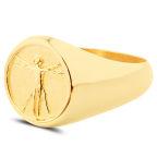 Vitruvian Man 925s Gold Ring
