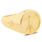 Позлатен сребърен пръстен с Витрувианския човек