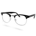 Vintage Brille In Schwarz & Silber Mit Transparentem Glas