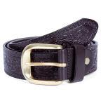 Embossed Brown Leather Belt