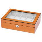 Pudełko na zegarki z drewna dębowego w kolorze pomarańczowym i kości słoniowej - 10 zegarków