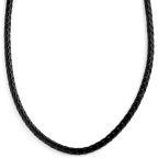 Collar de cuero trenzado negro 5 mm