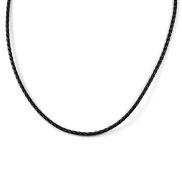 Svart Boloflätat Halsband i Läder