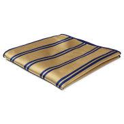 Златиста копринена кърпичка за сако с двойни тъмносини ивици