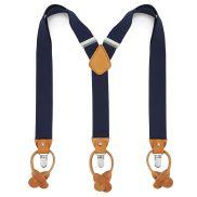 Breite Marineblaue Leder Hosenträger