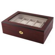 Caja para relojes con cerradura dorada y madera de cerezo - 10 relojes