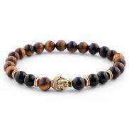Braunes Perlenarmband Hommage an Buddha