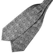 Cravatta ascot di poliestere fantasia cachemire grigio argento