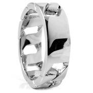 Pánsky oceľový prsteň s prierezmi