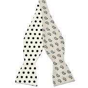 White & Black Reversible Cotton Self Tie Bow Tie