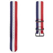 Cinturino Nato rosso, bianco e blu, con fibbia nera