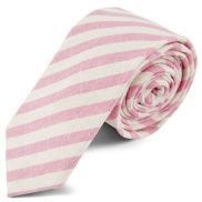 Cravatta a righe bianche e rosa