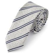 Cravate à motif texturé bleu et argent