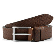 Cintura classica intrecciata marrone scuro
