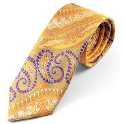 Corbata de seda con estampado de cachemir amarillo