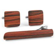 Manschettenknöpfe und Krawattenklammer aus Roteiche