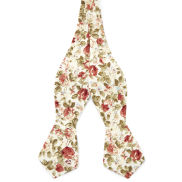 Cream Floral Self Tie Bow Tie
