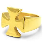 Zlatý ocelový prsten Knight´s Cross