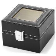 Musta Laatikko Tekonahkaa - 2 Kellolle