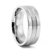 Anello in acciaio argento classico