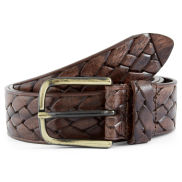 Plaited Chocolate Brown Leather Belt