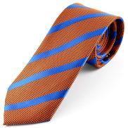 Corbata de seda de rayas naranja