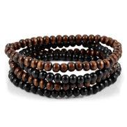 Bruin/Zwarte Houten kralen armband