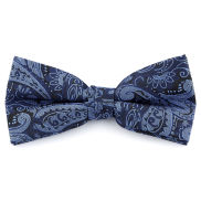 Navy & Blue Paisley Polyester Pre-Tied Bow Tie