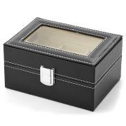 Zwarte Kunstleren Kist - Voor 3 Horloges