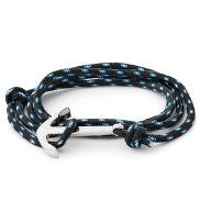 Le marin - Bracelet noir et bleu à pendentif argenté