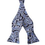 Blauwe Barokke Zijden Zelfbinder Vlinderdas