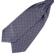 Marineblauer Krawattenschal Fleur-De-Lis Aus Polyester