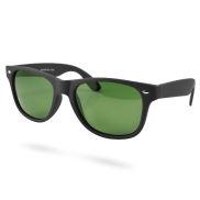 Svart/Grön Polariserade Retro Solglasögon