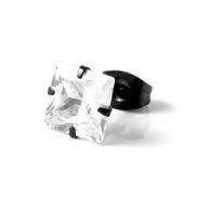 Boucle d'oreille noir mat et zircon