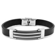 Black Combination Leather Bracelet