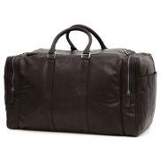 Montreal velká hnědá kožená víkendová taška