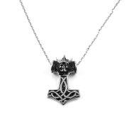 Collana d'acciaio con Martello di Thor e teschio