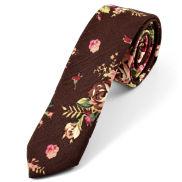 Hnedá ľanová kravata s kvetinovým vzorom