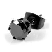 Schwarzer Zirkonia Ohrstecker 8mm