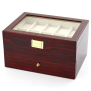 Two Layered Red Wood Display Case - 20 Watches