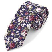 Tmavomodrá kvetinová kravata