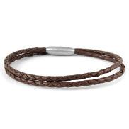 3mm Donkerbruine Twist Bolo Lederen Armband