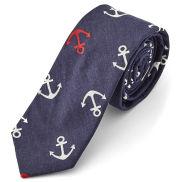 Cravate sombre à motif ancre