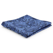 Navy & Blue Paisley Polyester Pocket Square