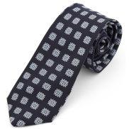 Corbata de seda azul marino geométrica