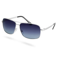 Rectangle Silver Smoke Polarized Sunglasses